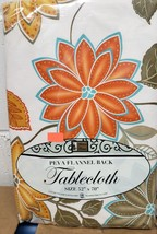 "PEVA Vinyl Flannel Back Tablecloth 52"" x 70"" Oblong (4-6 ppl) FLOWERS # ... - $10.88"