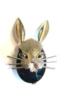 BSK Rabbit Face Vintage Pin Brooch Silver Tone Large Dark Glass Stone B.S.K - $27.28