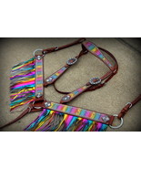 BLING ! WESTERN SADDLE HORSE LEATHER RAINBOW BRIDLE & BREAST COLLAR TACK... - $88.95