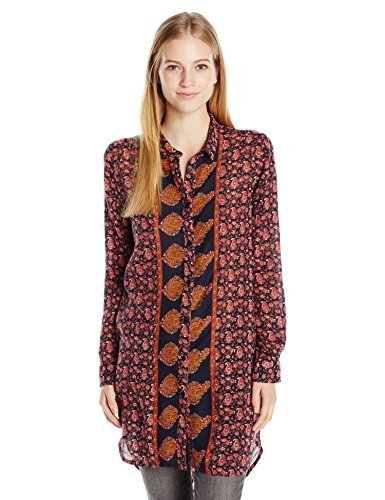 O'Neill Junior's Bloom Printed Woven Top, Total Eclipse, S
