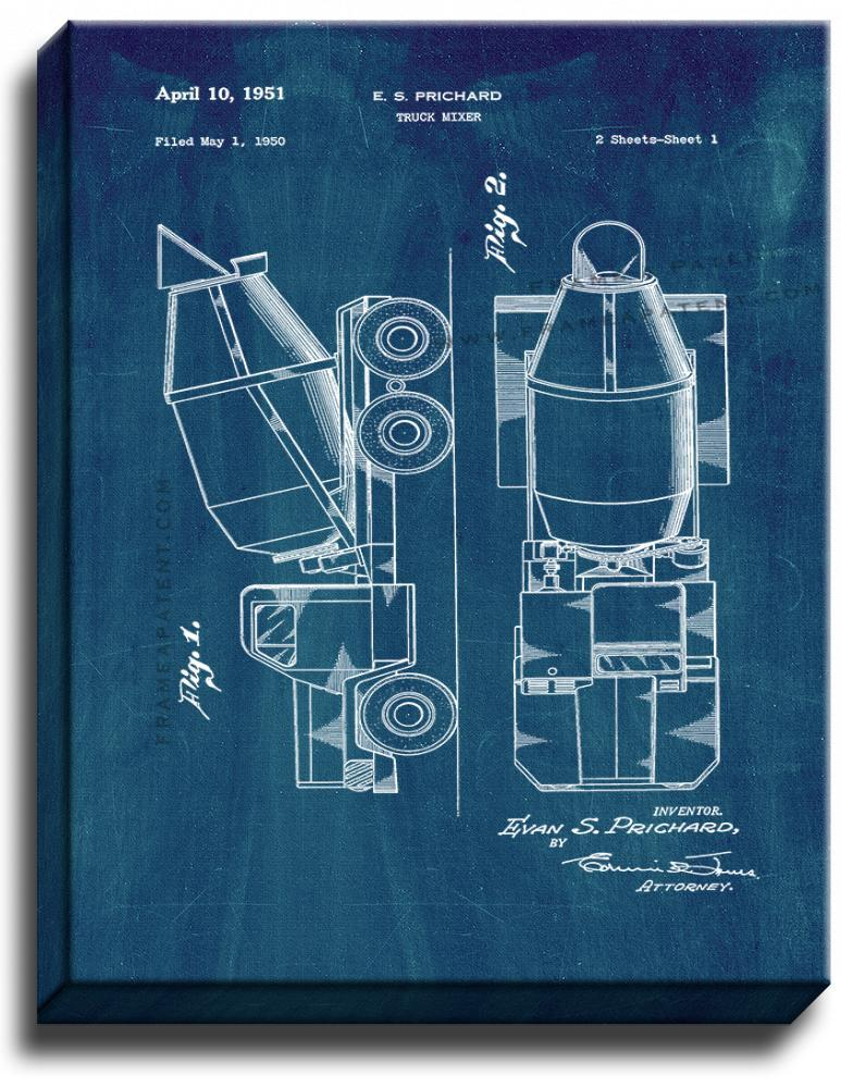 Primary image for Cement Mixer Patent Print Midnight Blue on Canvas
