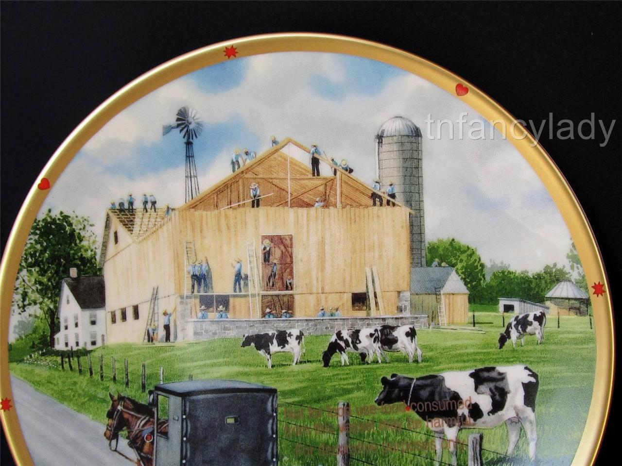The Barn Raising The Amish Life Plate Collection Don Patterson Lenox Collection