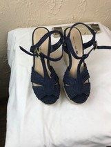 Womens 5 American Eagle Espadrille Wedges Blue Denim Ankle Strap Sandals - $13.98