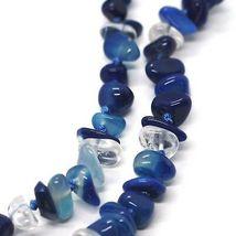 Collar Largo 90cm, Ágata Azul Bandas Disco Grande, Doble Filo image 3