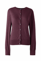 Lands End Women's Supima Crew Cotton Cardigan Sweater Aged Wine Heather ... - $34.99