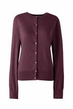 Lands End Women's Supima Crew Cotton Cardigan Sweater Aged Wine Heather  New - $34.99