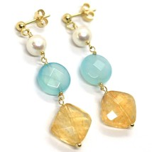 18K YELLOW GOLD PENDANT EARRINGS, PEARL, BLUE JADE AND CITRINE, 1.77 INCHES image 2