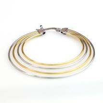 Trendy Large Silver & Gold Tone (Two Tone) Hoop Earrings- United Elegance image 4