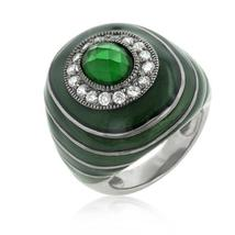 Green Enamel Crystal Cocktail Ring - $36.00