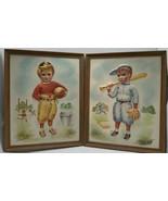 Vintage Charlotte Becker Pair Of Embossed Football and Baseball  Boys Fr... - $15.84