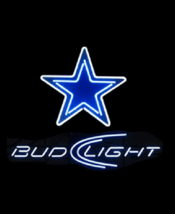"New Bud Light Dallas Cowboys eer Real Glass Neon Sign 19""x15"" - $116.86"