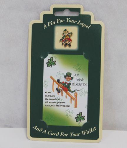Allied  Irish Souvenirs Blessing Wallet Card Lapel Leprechaun Pin