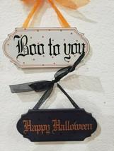 (2) Halloween BOO TO YOU HAPPY HALLOWEEN Wall Sign Ornaments Tree Decor ... - $17.99