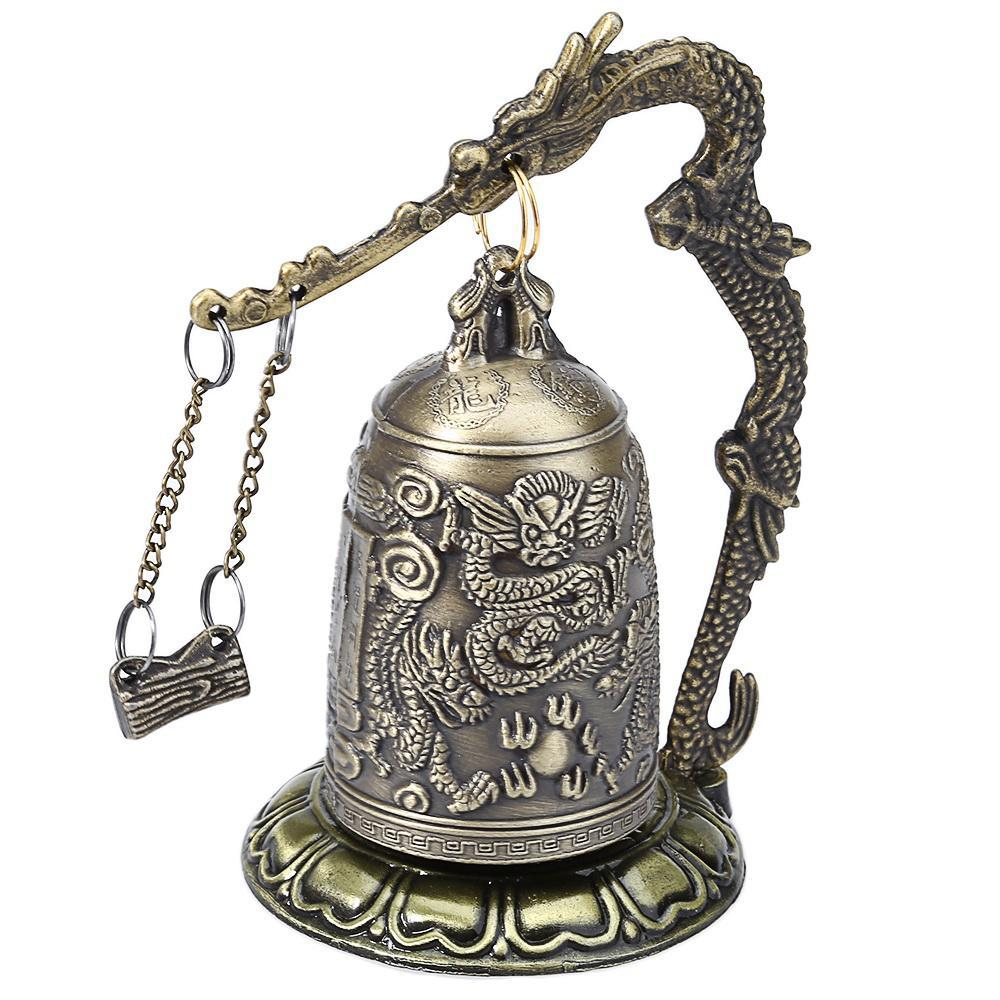 Zinc Alloy Vintage Style Bronze Lock Dragon Carved Buddhist Bell Chinese Geomant image 2