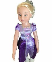 Vintage Uneeda Doll Blonde Hair Violet Dress White Shoes Tall - $40.58