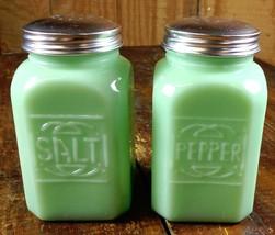 JADITE GREEN GLASS LARGE RANGE SIZE SQUARE JADEITE SALT & PEPPER SHAKERS... - £16.52 GBP