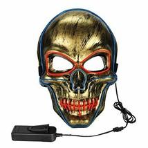 Poptrend Halloween mask Cosplay LED Mask Horrifying Mask Light Up (Blue ... - £11.41 GBP