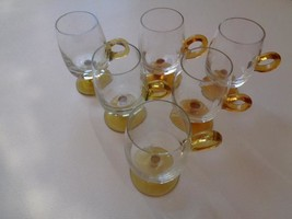 Lot Of 6 Vintage Clear Amber Handle Footed Glasses Mugs Irish Coffee Cup... - $34.19
