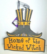 Halloween Home of the Wicked Witch Boots Hanging Sign Plaque Orange Blac... - $9.99