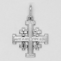 SOLID 18K WHITE GOLD FLAT JERUSALEM CROSS, SMOOTH AND SATIN, MADE IN ITALY image 2