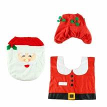 3 PCS Set Christmas Xmas Decoration Santa Toilet Seat & Cover & Rug Bath... - $9.69