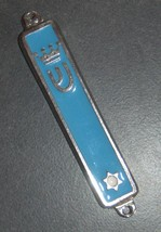 Judaica Aqua Enamel Silver Tone Mezuzah Case Magen David Crown Decoration 7cm image 2
