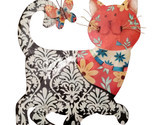 Eangee Home Design Metal Handcrafted Black & Red Cat Wall Decor Sculpture