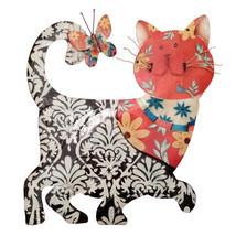 Eangee Home Design Metal Handcrafted Black & Red Cat Wall Decor Sculpture - £42.86 GBP