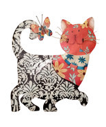 Eangee Home Design Metal Handcrafted Black & Red Cat Wall Decor Sculpture - $70.25 CAD