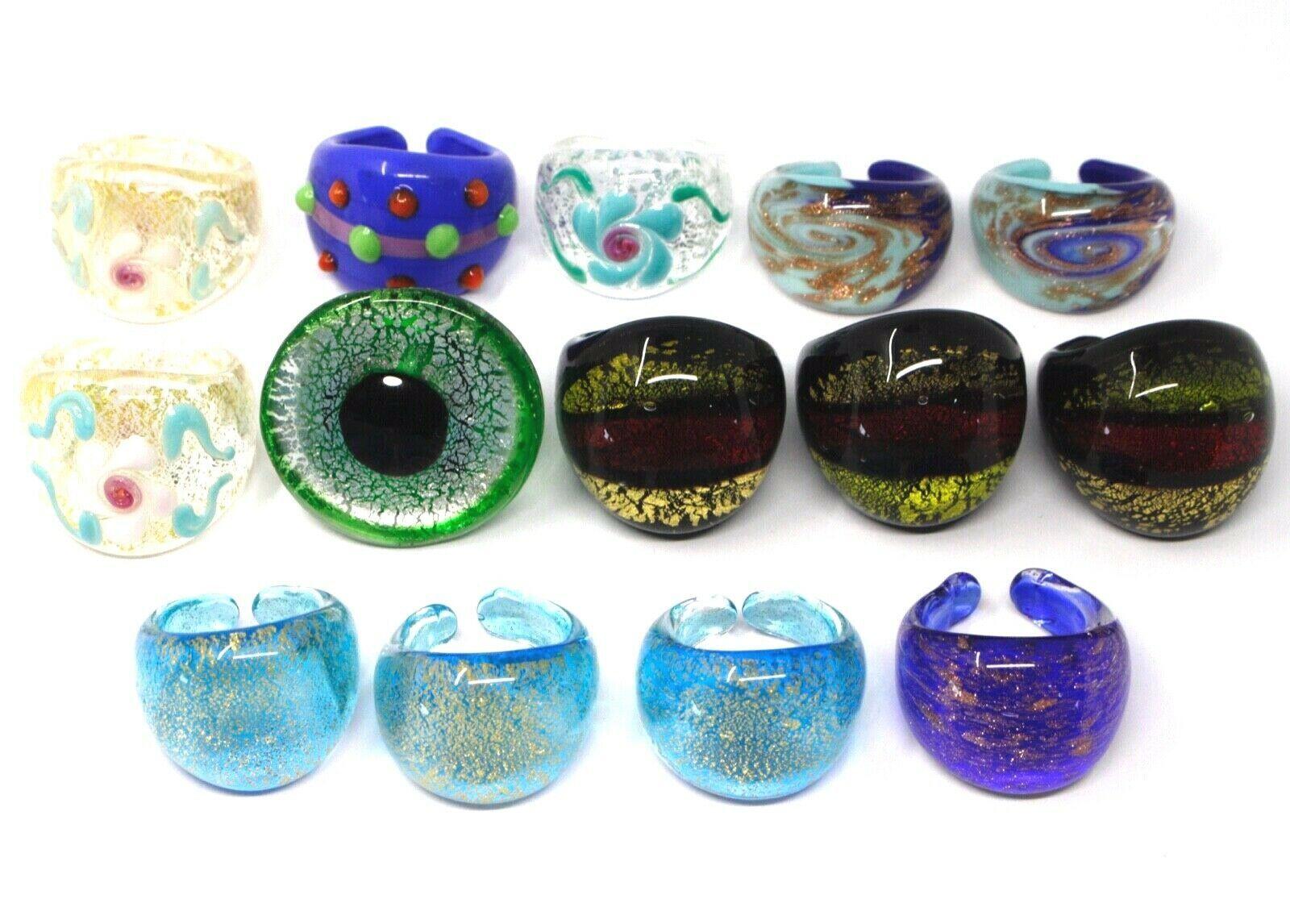 LOT OF 14 ANTICA MURRINA VENEZIA BAND RINGS, MURANO GLASS
