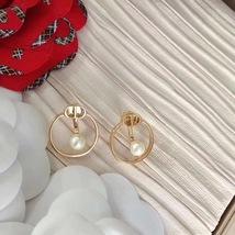 AUTH Christian Dior 2020 GOLD CD LOGO HOOP PEARL EARRINGS  image 2