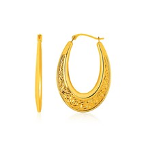 14k Yellow Gold Graduated Oval Hoop Earrings with Swirl Design - $137.87
