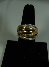 2 Tone Gold Over Sterling Ring, Woven look Size 7.5 - $32.66