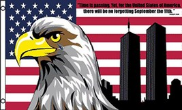 AMERICAN EAGLE 911 NOT FORGET 3 X 5 FLAG FL754 banner wall hanging decor... - $6.27