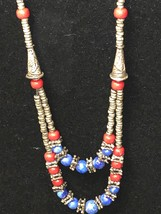 Vintage Handcrafted Native American Silver, Red Coral & Lapis Beaded Nec... - $99.00