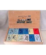 Prim Pottery Barn Kids Wood Adventure Picture Story Blocks Teaching Crafts CUTE - $31.14