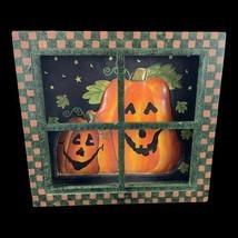 Country Primitive Halloween Wood Window Paned Metal Pumpkins Door Wall D... - £13.59 GBP