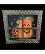 Country Primitive Halloween Wood Window Paned Metal Pumpkins Door Wall D... - $18.70