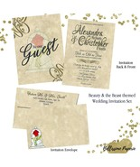 Beauty and the Beast Wedding invitation Set with matching Envelope Navy ... - $2.00