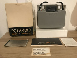 Vtg Polaroid Automatic 210 Instant Film Land Camera With Manual Box Cold... - $37.39