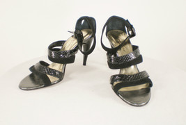 Kenneth Cole Sz 9 M Black Snake and Suede Strappy Sandal Heels - Italy - $33.65