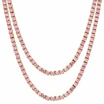 Pink Lab Diamond Tennis Necklace Choker Chain Combo Set of 2 18 Inch & 2... - $409.99