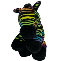 "Toys R Us Black ZEBRA Rainbow Stripes 15"" Sitting Plush 2015 Stuffed Animal - $24.70"