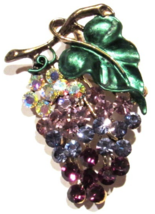 Grapes Pin Brooch Purple Multicolor Crystal Green Leaf Brass Tone Metal ... - $21.99