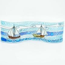 Fused Art Glass Coastal Sailboat Ocean Scene Wavy Sun Catcher Handmade Ecuador