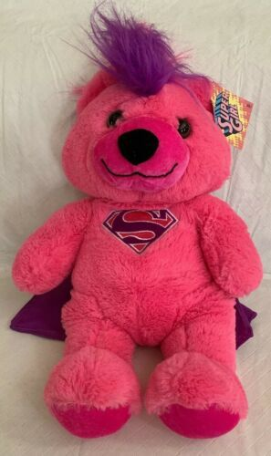"Primary image for Six Flags Supergirl Teddy Bear DC Comics  18"" Plush Pink Purple Mohawk NWT"