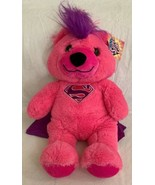 "Six Flags Supergirl Teddy Bear DC Comics  18"" Plush Pink Purple Mohawk NWT - $19.79"