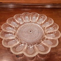 "Vintage 1960's Indiana Clear Glass Deviled Egg Plate Hobnail 11 1/4"" Pla... - $16.99"