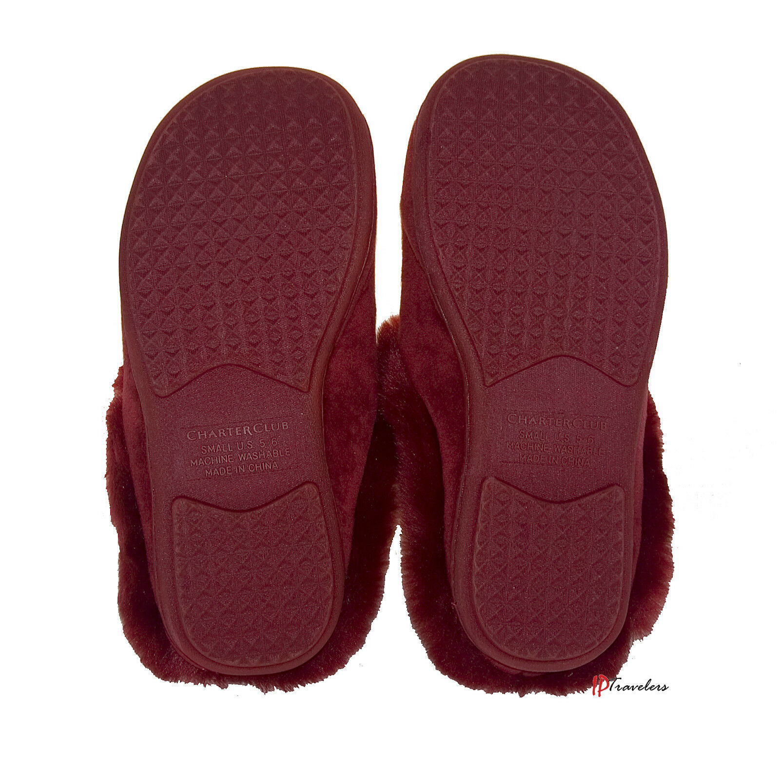 Charter Club Women's Slippers Red - Faux Fur Size Small 5-6 CC502 Scuffs $30