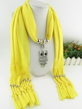 Scarf Pendant Necklace Women Yellow Color Tassel Fringe Shawl Long Size ... - $8.25